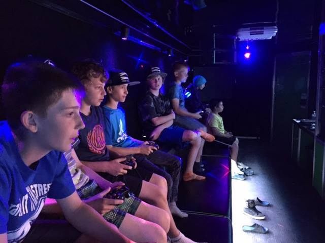 Blue Laser Rolling Video Game Party Bus Tournament at Next Level Gaming, Baltimore