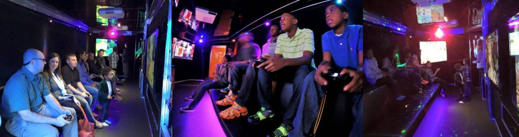 Next Level Gaming video game bus video game truck blue interior collage